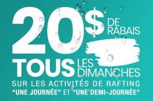 20$ de rabais tous les dimanches | Rafting Nouveau Monde